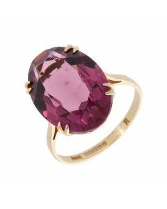 Pre-Owned 9ct Yellow Gold Oval Gemstone Set Solitaire Dress Ring