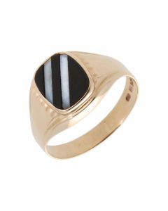 Pre-Owned 9ct Yellow Gold Double Stripe Onyx Signet Ring