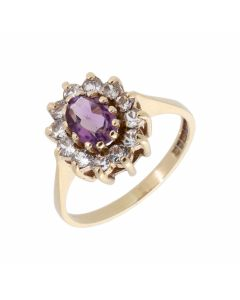 Pre-Owned 9ct Yellow Gold Amethyst & Spinel Cluster Ring