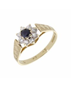 Pre-Owned 9ct Yellow Gold Sapphire & Cubic Zirconia Cluster Ring
