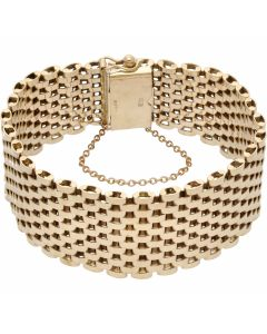 Pre-Owned 9ct Yellow Gold 7 Inch Extra Wide Gate Bracelet
