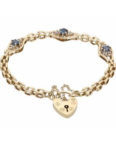 Pre-Owned 9ct Gold Sapphire & Diamond Cluster Link Bracelet