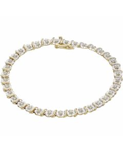 Pre-Owned 9ct Gold 7 Inch Diamond Set Tennis Bracelet