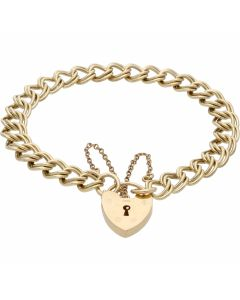 Pre-Owned 9ct Gold Double Curb Link Charm Style Starter Bracelet