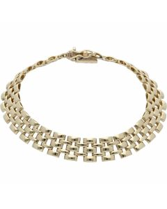 Pre-Owned 9ct Yellow Gold 7.3 Inch Brick Link Bracelet