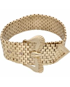 Pre-Owned 9ct Gold Brick Link Buckle Belt Wide Cuff Bracelet