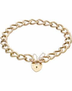 Pre-Owned 9ct Gold Hollow Curb Link Charm Style Starter Bracelet