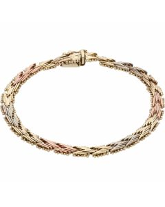 Pre-Owned 9ct Yellow Rose & White Gold Chevron Link Bracelet