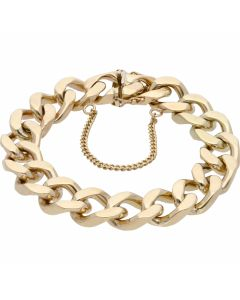 Pre-Owned 9ct Gold 8 Inch Heavy Curb Bracelet & Safety Chain
