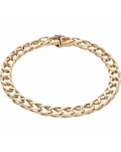 Pre-Owned 9ct Yellow Gold 8.5 Inch Double Curb Bracelet