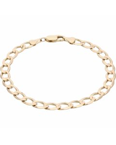 Pre-Owned 9ct Yellow Gold 8.3 Inch Curb Bracelet