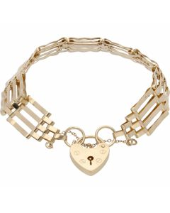 Pre-Owned 9ct Yellow Gold 4 Bar Gate Bracelet