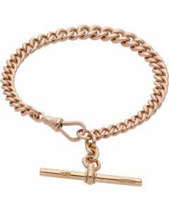 Pre-Owned 9ct Rose Gold 8 Inch Albert Link & T-Bar Bracelet