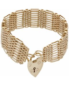 Pre-Owned 9ct Yellow Gold 9 Bar Gate Bracelet