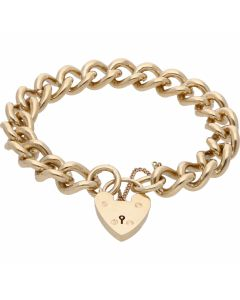 Pre-Owned 9ct Yellow Gold Curb Link Charm Style Starter Bracelet