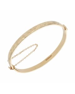Pre-Owned 9ct Yellow Gold Patterned Hinged Cuff Bangle