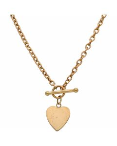 Pre-Owned 9ct Gold Hollow Heart & T-Bar Lariat Belcher Necklace