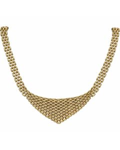 Pre-Owned 9ct Yellow Gold 16 Inch Graduated Brick Link Necklet