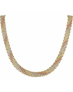 Pre-Owned 9ct Yellow Rose & White Gold Brick Link Necklet