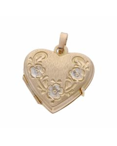 Pre-Owned 9ct Yellow & White Gold Patterned Heart Locket Pendant