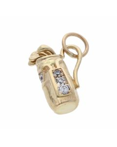 Pre-Owned 9ct Yellow Gold Gemstone Set Golf Clubs Charm