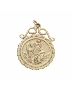 Pre-Owned 9ct Yellow Gold St.Christopher Coin Style Pendant