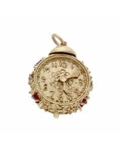 Pre-Owned 9ct Yellow Gold Clock Charm