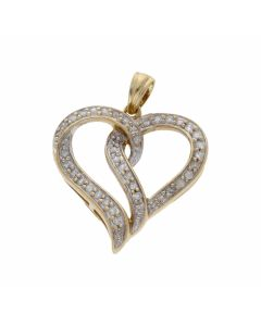 Pre-Owned 9ct Yellow Gold 0.25 Carat Diamond Set Heart Pendant