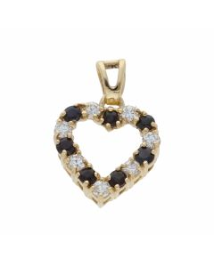Pre-Owned 9ct Gold Sapphire & Cubic Zirconia Heart Pendant