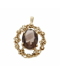 Pre-Owned 9ct Yellow Gold Oval Smokey Quartz Floral Pendant