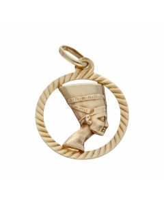 Pre-Owned 9ct Yellow Gold Circle Nefertiti Pendant