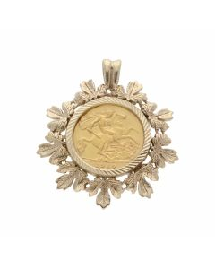 Pre-Owned 1910 Half Sovereign Coin In 9ct Gold Pendant Mount