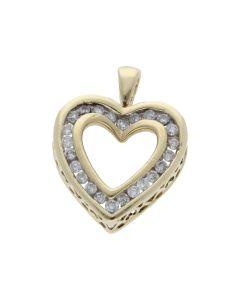Pre-Owned 9ct Yellow Gold 0.50 Carat Diamond Heart Pendant