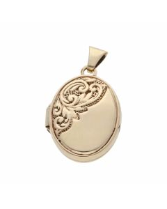 Pre-Owned 9ct Yellow Gold Half Patterned Oval Locket Pendant
