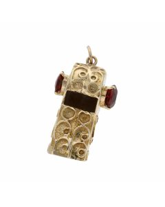 Pre-Owned 9ct Yellow Gold Garnet Set Ornate Whistle Pendant
