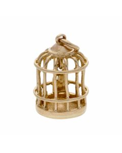 Pre-Owned 9ct Yellow Gold Bird In Birdcage Charm