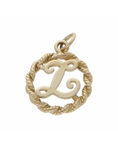 Pre-Owned 9ct Yellow Gold Rope Edge Initial L Circle Pendant