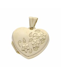 Pre-Owned 9ct Yellow Gold Floral Heart Locket Pendant