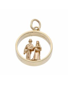 Pre-Owned 9ct Yellow Gold Bride & Groom Couple Charm