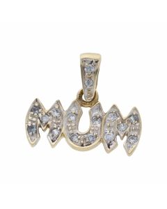 Pre-Owned 9ct Yellow Gold Cubic Zirconia Mum Pendant