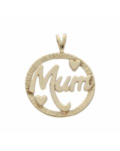 Pre-Owned 9ct Yellow Gold Mum Heart Circle Pendant