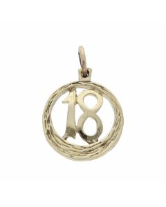 Pre-Owned 9ct Yellow Gold Age 18 Circle Charm Pendant