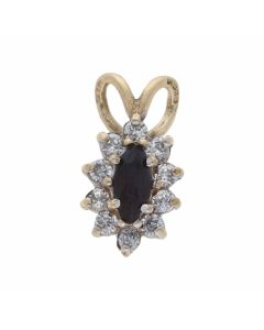 Pre-Owned 9ct Gold Sapphire & Cubic Zirconia Cluster Pendant