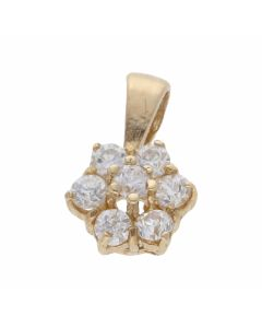 Pre-Owned 9ct Yellow Gold Cubic Zirconia Cluster Pendant