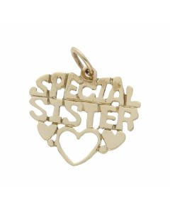 Pre-Owned 9ct Gold Lightweight Special Sister Heart Pendant