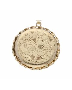 Pre-Owned 9ct Gold Rope Edge Patterned Round Locket Pendant