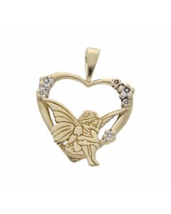 Pre-Owned 9ct Gold Angel Heart Pendant