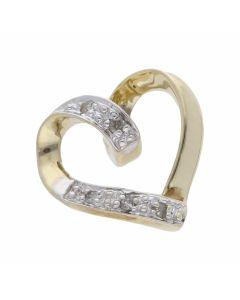 Pre-Owned 9ct Gold Diamond Set Heart Pendant