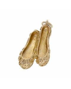 Pre-Owned 9ct Yellow Gold Floral Slippers Charm