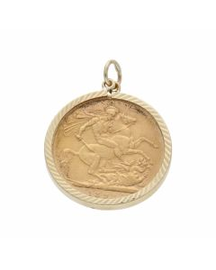 Pre-Owned 1893 Full Sovereign Coin In 9ct Gold Pendant Mount